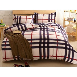 Plaid Print Modern Style Polyester 4-Piece Bedding Sets