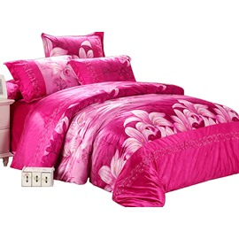 Wonderful Red Lily Print 4-Piece Short Plush Duvet Cover Sets