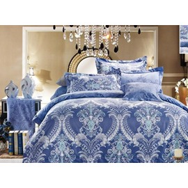 Damask Pattern Havana Reversible Print 4-Piece Polyester Bedding Sets/Duvet Cover
