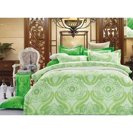 Green Paisley Flower Print 4-Piece Polyester Duvet Cover Sets