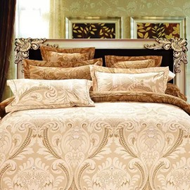 Damask Print Golden Polyester 4-Piece Bedding Sets/Duvet Covers