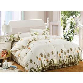 Refreshing Green Dandelion Print 4-Piece Polyester Bedding Sets/Duvet Cover