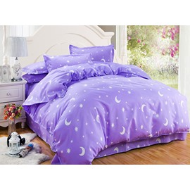 Fancy Stars and Crescent Print Purple 4-Piece Duvet Cover Sets
