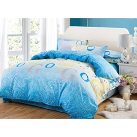 Stylish Alphabet Flowers Design 4-Piece Polyester Duvet Cover Sets
