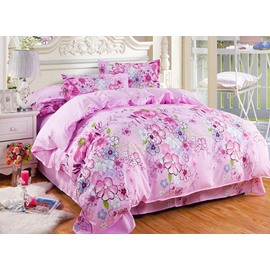 Colorful Flowers Pattern Pink 4-Piece Bedding Sets/Duvet Cover
