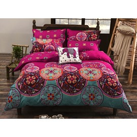 Queen Size Bohemian Style Elephant Pattern 4-Piece Polyester Bedding Sets/Duvet Cover