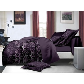 Sophisticated Branch Print Purple 4-Piece Polyester Duvet Cover Sets