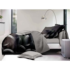 Simple Design Black 4-Piece Polyester Duvet Cover Sets