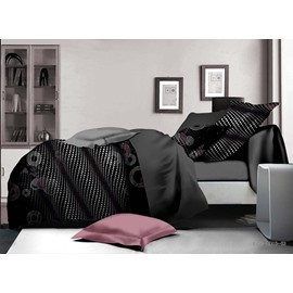 Personalized Black Polyester 4-Piece Duvet Cover Sets