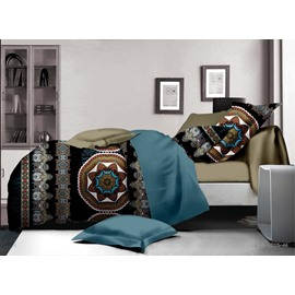 Exotic Style Medallion Print 4-Piece Polyester Duvet Cover Sets