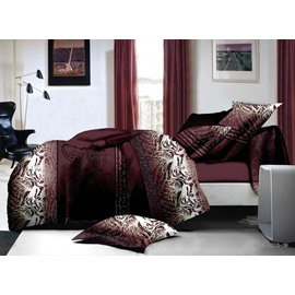 Majestic Retro Style 4-Piece Polyester Duvet Cover Sets
