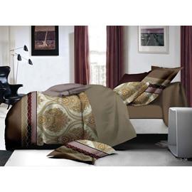 Elegant Ogee Print Polyester 4-Piece Duvet Cover Sets
