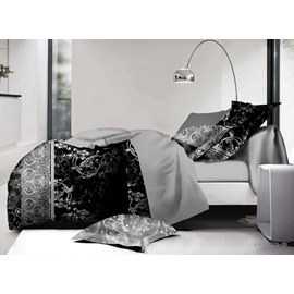 Luxury Jacobean Pattern Black 4-Piece Bedding Sets/Duvet Cover