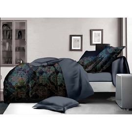 Exquisite Damask Print Polyester 4-Piece Duvet Cover Sets