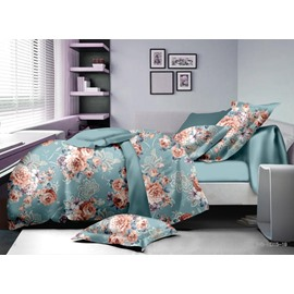 Elegant Peony Print Polyester 4-Piece Duvet Cover Sets