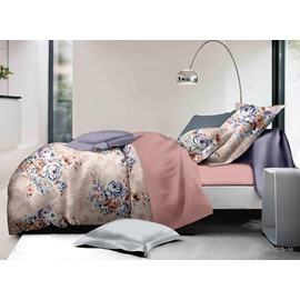 Fancy Floral Print Polyester 4-Piece Duvet Cover Sets