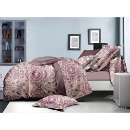 Worldly Pattern Pink Polyester 4-Piece Duvet Cover Sets