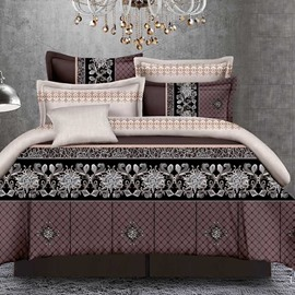 Retro Style Sophisticated Pattern 4-Piece Polyester Bedding Sets/Duvet Cover