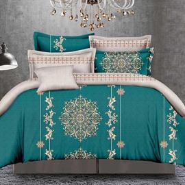 Pretty Medallionand Jacobean Print Green 4-Piece Polyester Duvet Cover Sets