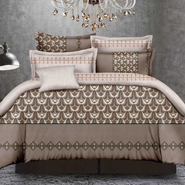 Gorgeous Brown Breathable Polyester 4-Piece Duvet Cover Sets
