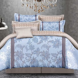 Pretty Arabesque Print Blue Polyester 4-Piece Duvet Cover Sets