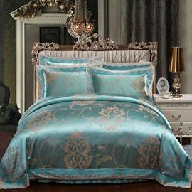Luxury Satin Jacquard Green 4-Piece Duvet Cover Sets