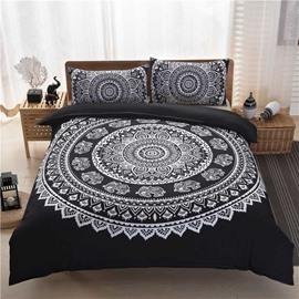 Bohemian Style Mandala PatternBlack Polyester 3-Piece Bedding Sets/Duvet Cover