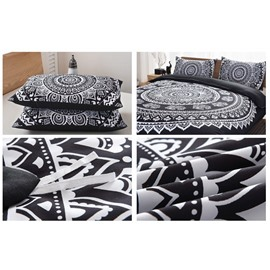 Bohemian Style Mandala Pattern Black Polyester 3-Piece Bedding Sets/Duvet Cover