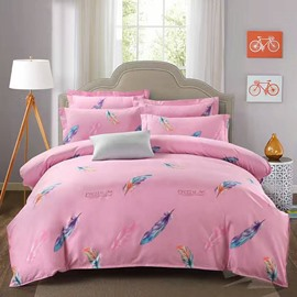 Beautiful Feathers Print Pink Polyester 4-Piece Duvet Cover Sets