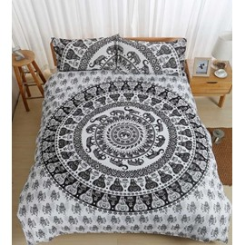 Elephant Mandala Print Polyester 3-Piece Bedding Sets