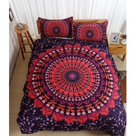 Bohemian Style Mandala Print Red Polyester 3-Piece Bedding Sets