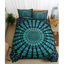 Green Peacock Pattern Mandala Style 3-Piece Bedding Sets/Duvet Cover