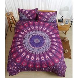 Mandala Print Bohemian Style Purple Ombre Polyester 3-Piece Bedding Sets