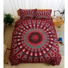 Bohemian Peacock Mandala Style Red 3-Piece Bedding Sets/Duvet Cover Skin-friendly All-Season Ultra-soft Microfiber No-fading Full Queen King