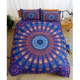 Exotic Bohemian Style Mandala Purple Polyester 3-Piece Bedding Sets