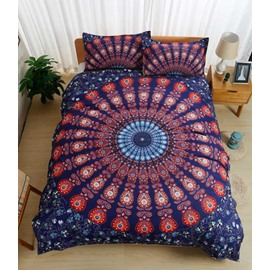 Bohemian Style Indian Mandala Print Polyester 3-Piece Bedding Sets