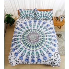 Bohemian Mandala Print White Polyester 3-Piece Bedding Sets