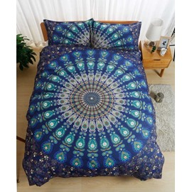 Peacock Mandala Print Blue Polyester 3-Piece Bedding Sets