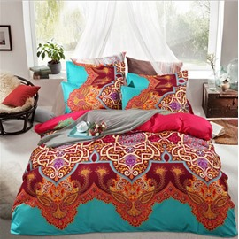 Bohemian Style Contrast Color Polyester 4-Piece Bedding Sets