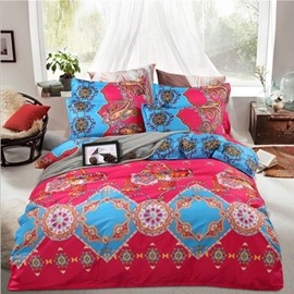 Ethnic Style Red Skincare Polyester 4-Piece Bedding Sets
