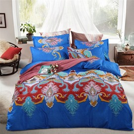 Boho Style Damask Print Blue Polyester 4-Piece Bedding Sets