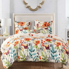 Pastoral Style Watercolor Flowers Pattern 3-Piece Bedding Sets Zipper Duvet Cover with Ties
