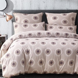 Circles Pattern Printed Simple Style Beige Polyester 3-Piece Bedding Sets/Duvet Cover