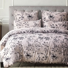 Leaves and Branches Shadow Pattern Printed Polyester 3-Piece Bedding Sets/Duvet Cover
