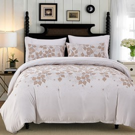Mandala Pattern Leaves Printed Pastoral Style Beige Polyester 3-Piece Bedding Sets/Duvet Cover