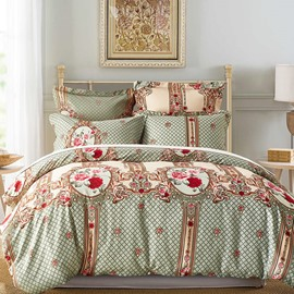 Rose and Plaid Printed Ethnic Style Blue Polyester 3-Piece Bedding Sets/Duvet Cover