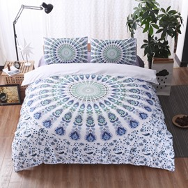 Light Green Mandala Pattern Bohemian Style 3-Piece Bedding Sets/Duvet Cover