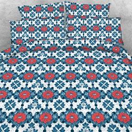 Designer Red Window Flowers Embellished Printed Polyester 4-Piece Bedding Sets/Duvet Cover