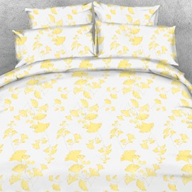 Designer Autumn Yellow Ginkgo Leaves Printed Polyester 4-Piece Bedding Sets/Duvet Cover