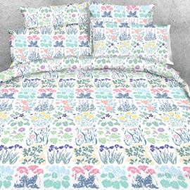 Designer Spring Garden Printed Pastoral Style Polyester 4-Piece Bedding Sets/Duvet Cover